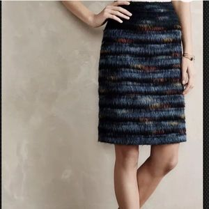 Anthropologie Maeve Multi-Color Feather Skirt